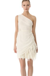 Short One-shoulder Sheath Side-draped Chiffon Dress