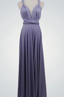 Backless Straped V Neck A-line Jersey Long Dress With Sash