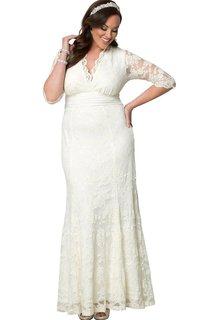 Size V-Neck Lace Long Plus Dress