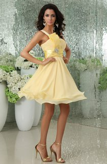One-Shoulder Chiffon A-Line Dress With Broach and Ruched Waist