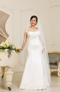 Trumpet Floor-Length Scoop-Neck Cap-Sleeve Corset-Back Satin Dress With Lace And Sash