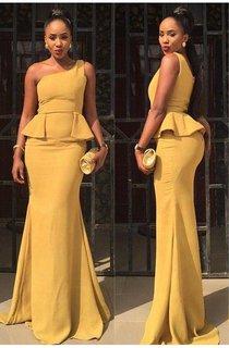 Sexy One Shoulder Mermaid Yellow Prom Dress 2016 Ruffles Sweep Train