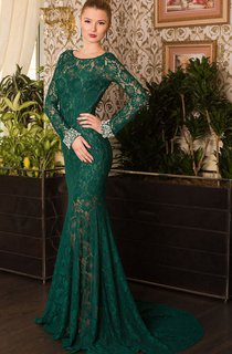 Mermaid Court Train Jewel Long Sleeve Lace Beading Pleats Keyhole Dress