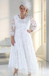 A-Line Ankle-Length Scoop Neck Satin Lace Zipper Cape Dress