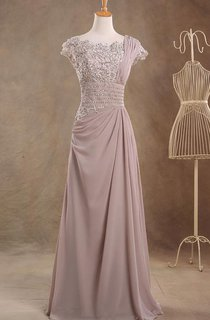 Jewel Cap Sleeve Empire Single Strap A-line Chiffon Long Dress With Beaded Top