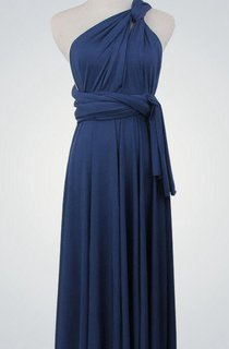 One Shoulder A-line Jersey Long Dress With Sash and Pleats Deep Blue