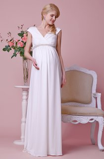 Empire V-neck Short-sleeved A-line Jersey Gown With Shiny Waist
