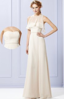 A-Line Chiffon Strapless Gown With Shiny Sash