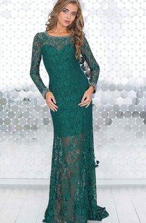 Sheath Floor-Length Jewel Long Sleeve Lace Beading Pleats Illusion Dress