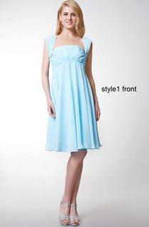 Convertible Cap Sleeve Short Chiffon Dress With Pleats