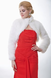 Long Sleeve High-Neck Faux Fur Bridal Jacket