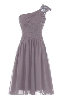 One-shoulder Chiffon Dress With Sparkling Beading
