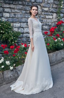 A-Line Floor-Length V-Neck Illusion-Sleeve Zipper Satin Dress With Appliques And Beading