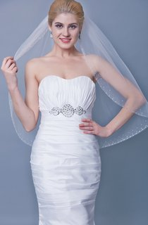 One Tier Beaded Trim Mid Veil