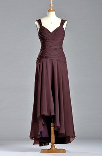 Charming A-line V-neck Ruched Dress with Dropped Waist
