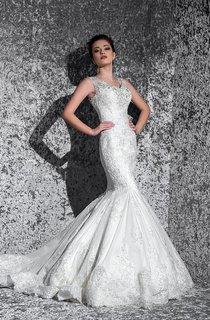 Mermaid Maxi V-Neck Sleeveless Lace-Up Lace Dress With Beading