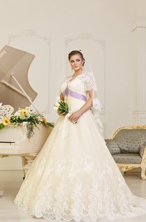A-Line Floor-Length V-Neck Cap-Sleeve Corset-Back Lace Dress With Beading And Sash