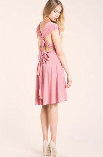 V Neck Cap Sleeve A-line Knee Length Jersey Dress With Criss-cross Back