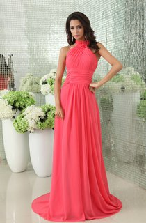 Modest Floral High Neck Chiffon Gown With Pleats