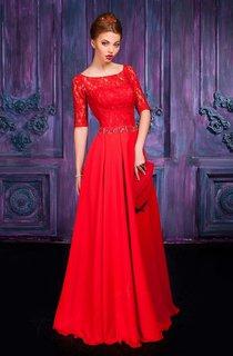 A-line Floor-length Jewel Half Sleeve Chiffon Zipper Dress