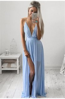 Elegant V-Neck Long Prom Dress Chiffon Floor Length