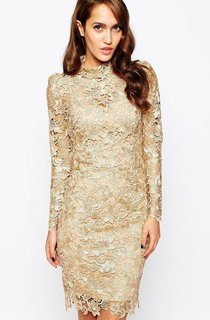 New Arrival High Neck Sheer Long Sleeve short sheath prom gown