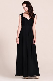 Cap-sleeved A-line Gown With Lace Bodice