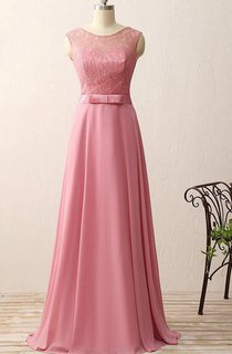 A-line Floor-length Chiffon Lace Satin Dress