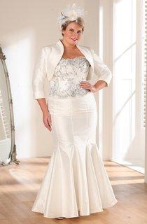 Mermaid Floor-Length Strapless 3-4-Sleeve Satin Cape Dress
