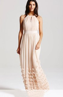 High-Neck Pleated Bodice Long Dress With Keyholes And Petals