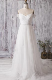 A-Line Pleated Tulle Dress With Crisscross Bodice and Spaghetti Straps