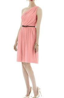 One Shoulder Ruched Short Chiffon Dress with Belt