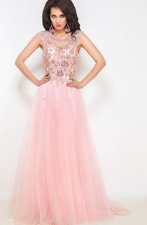A-Line Floor-Length Sweep Jewel Short Sleeve Tulle Beading Pleats Keyhole Dress