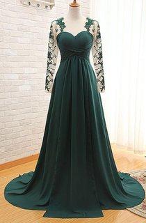 Elegant Long Sleeve Dark Green Evening Dress 2016 Chiffon Long With Appliques