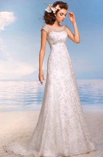 A-Line Floor-Length Scoop Cap-Sleeve Empire Illusion Lace Dress With Beading And Appliques