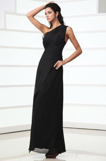 One-Shoulder Ankle-Length Dress With Ruching