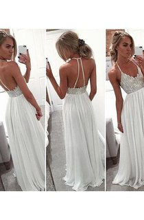 A-line Halter Sleeveless Chiffon Beading Sweep Train Dresses