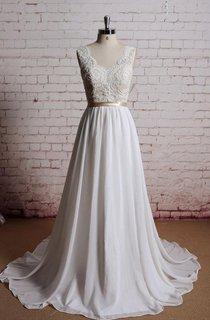 A-Line Chiffon Sleeveless Dress With Lace Bodice and Satin Bow Sash