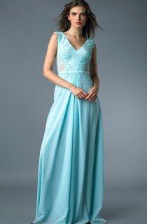 A-line Floor-length V-neck Short Sleeve Satin Zipper Dress