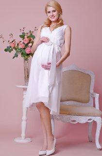 Glamorous V-neck A-line Knee Length Chiffon Dress With Satin Bow