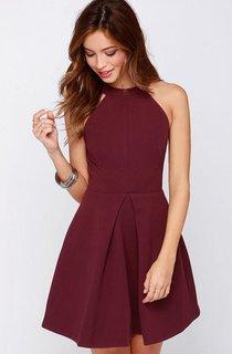 Short Halter Chiffon Dress with Keyhole Back