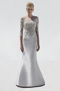 Mermaid Floor-Length Scoop-Neck Half Sleeve Satin Crystal Detailing Illusion Dress
