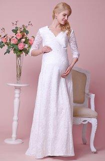 Graceful V-neck 3-4 Sleeved Lace Dress