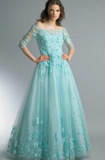 A-line Floor-length Off-the-shoulder Long Sleeve Tulle Zipper Dress