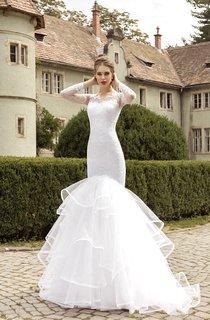 Illusion Long Sleeve Appliques Mermaid Dress