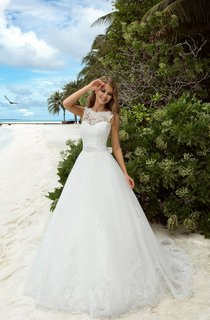 A-Line Floor-Length Jewel-Neck Sleeveless Deep-V-Back Organza Dress With Sash And Appliques