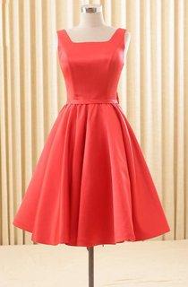 Elegant Satin Backless Bowknot Knee Length Dress