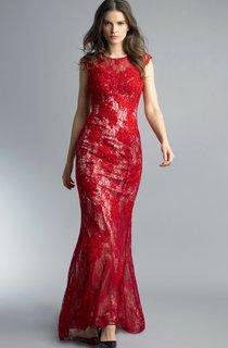 Mermaid Floor-length Jewel Short Sleeve Lace Illusion Dress