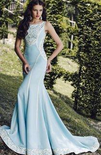 Mermaid Court Train Bateau Sleeveless Satin Lace Pleats Button Dress