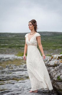 Cap Sleeve V-Neck A-Line Lace Wedding Gown With Beading Band